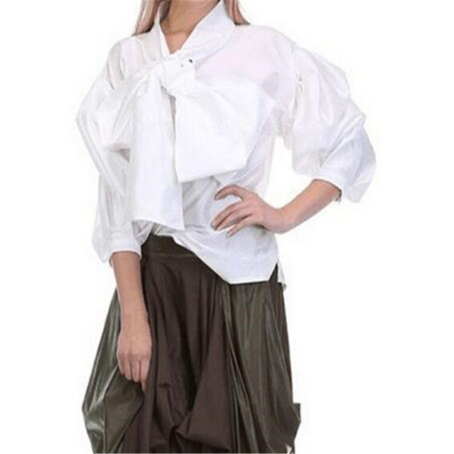 8f515f6c2e520 Women Solid Blouse Big Bow O-Neck Lantern Sleeve Tops Oversize Fashion  Female Shirt Plus