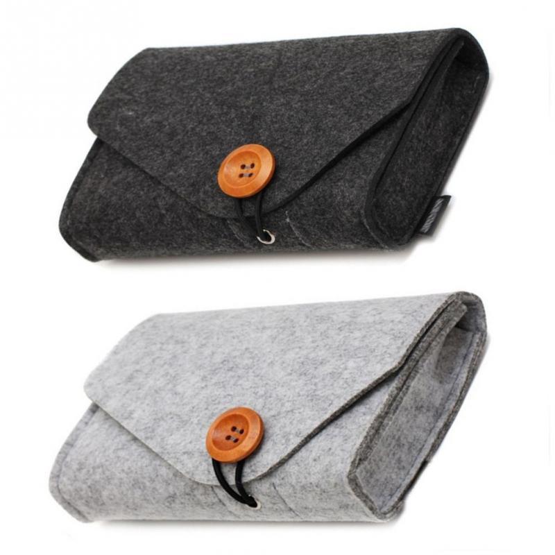 Men Women Portable Felt Digital Storage Bag USB Cable Charger Earphone Case SD Card Pouch Electronic Gadgets Organizer Durable