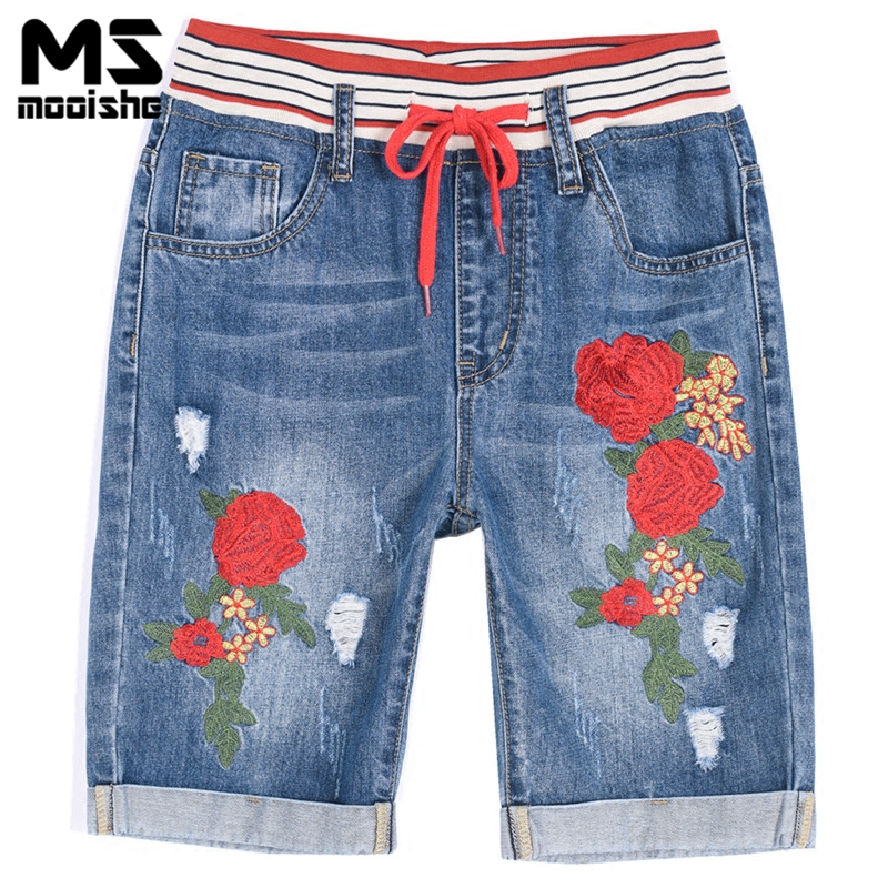 Mooishe Summer Rose Embroidered Jeans Elastic Cuffed Ripped Drawstring High Stretch Waist female Denim Jeans Shorts