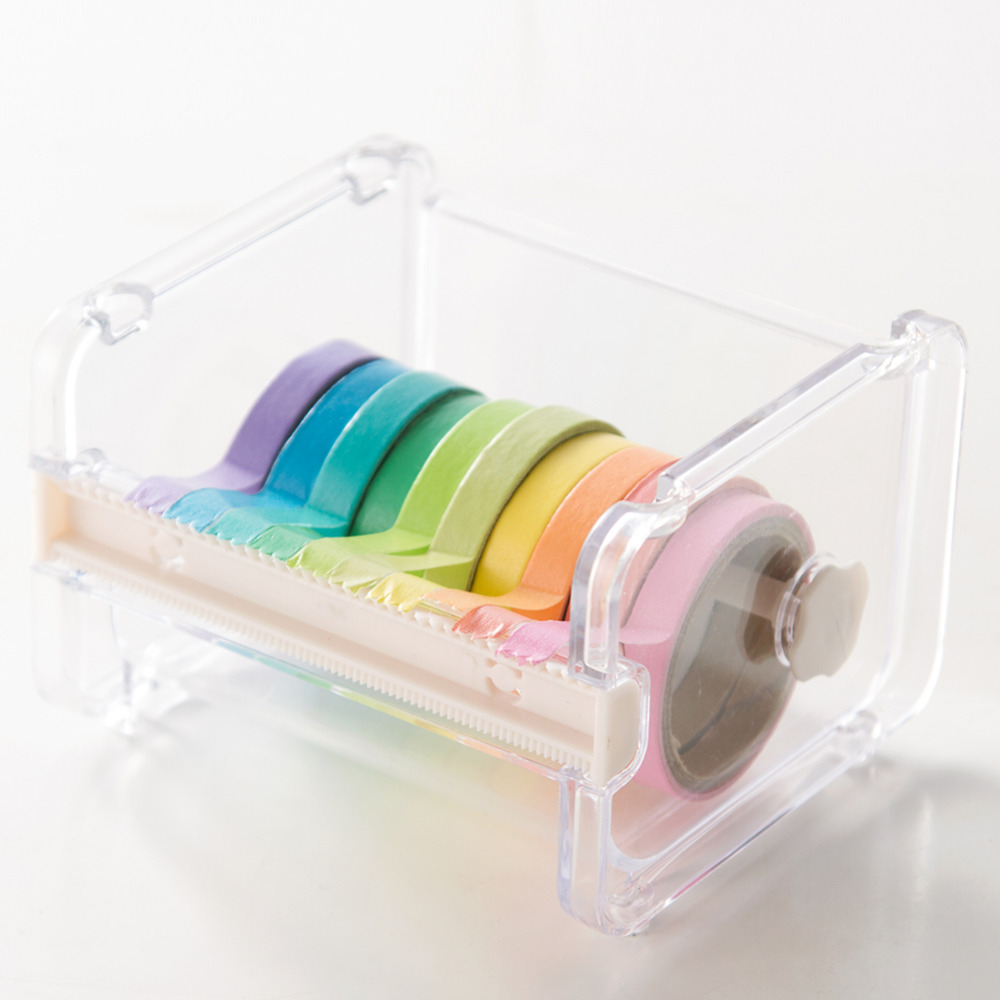 Rainbow Write Sticker Tape Stationery Tape Cutter Masking Washi Tape Storage Organizer Durable Cutter Dispenser Office Supplies