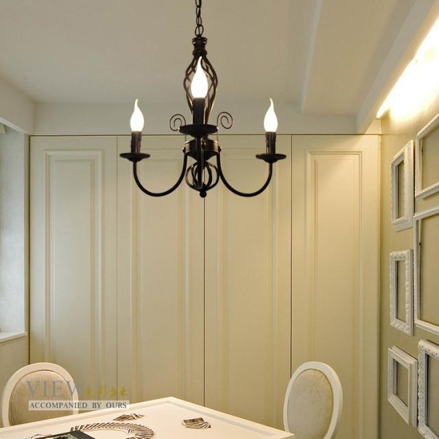 Painting Dining Room Chandelier: New Simple Luxury Painted Iron 3 Lights 45*45cm Living