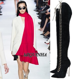 new style black nubuck leather long boots lace up thigh high pointed toe shoes metal thin high heel sexy party footwear