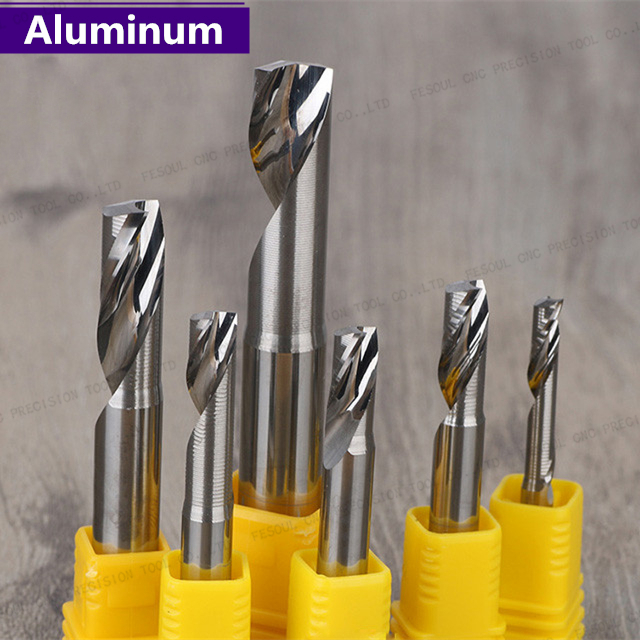 2Pcs 6mm Single Flute Spiral End Mill Carbide Router Bits for Aluminium 6*17mm
