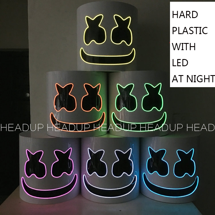 HARD PLASTIC Acrylic Free Transform Marshmello Helmet DJ Marshmello Mask Concert Props Future Bass Marshmello Prop Bars With LED