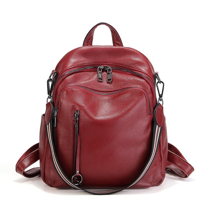 Nesitu haute qualité nouvelle mode noir bleu rouge en cuir véritable femmes sacs à dos pour fille vraie peau femme sacs à bandoulière # M88039-in Sacs à dos from Baggages et sacs    1