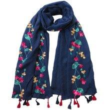 Модный Цветочный вышитый женский шарф-шаль с кисточкой, мягкий весенний светильник большого размера