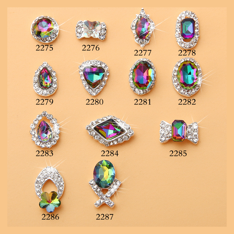 2018 Beautiful New Crystal Colourful AB Nail Rhinestone Alloy10pcs Nail Art Decorations Glitter DIY Japan Sharp bottom Supplies in Rhinestones Decorations from Beauty Health