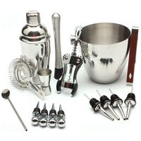 New 16Pcs Set Kit Cocktail Shaker Strainer Bar Ice Wire Mixed Stainless Steel Colander Filter Bartender Cocktail Kit 750Ml