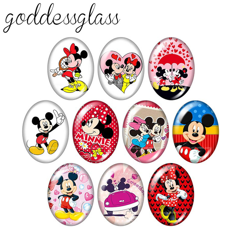 New Lovely Micky Maus Minnie Cartoon 13x18mm/18x25mm/30x40mm Oval Photo Glass Cabochon Demo Flat Back Making Findings TB0020