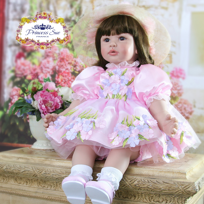 Pursue 24/60 cm Pink Dress with Hat Bebe Reborn Girl Silicone Princess Toddler Baby Doll Toys for Children Girl Birthday Gift pursue 24 60 cm adora big fake baby doll bebe reborn silicone vinyl princess toddler doll toys for children girl boy birthday