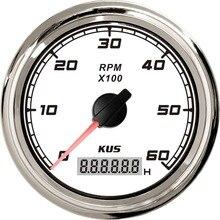 "KUS 85 мм 3-3/"" Белая Лицевая панель Тахометр 6000 об/мин для морского автомобиля"