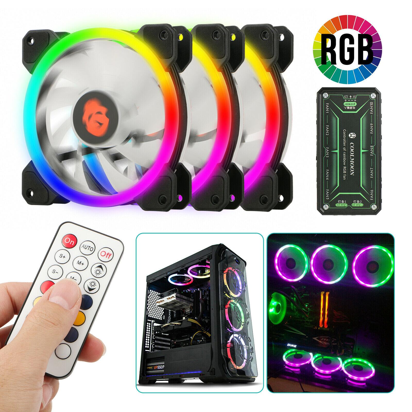 3-Pack LED Cooling Fan RGB 120mm 12V w/ Remote Control For Computer Case PC CPU3-Pack LED Cooling Fan RGB 120mm 12V w/ Remote Control For Computer Case PC CPU