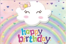 Laeacco Cartoon Rainbow Cloud Stars Baby Birthday Photography Backgrounds Customized Photographic Backdrops For Photo Studio