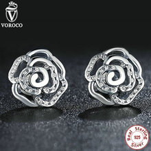 Unique 925 Sterling Silver Clear CZ Shimmering Rose Petals Flower Stud Earrings Suitable with Pan Jewellery S406