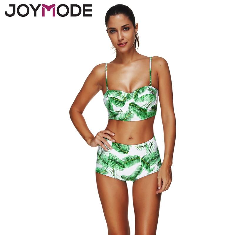 JOYMODE 2017 Новый лист печать бикини Ретро бразильские бикини купальники сексуальный купальный костюм Принт купальный костюм biquini Майо де Бейн -Е