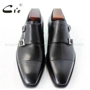 Image 2 - cie square captoe medallion double monk straps handmade leather men shoe100% genuine calf leather outsole breathable black MS46