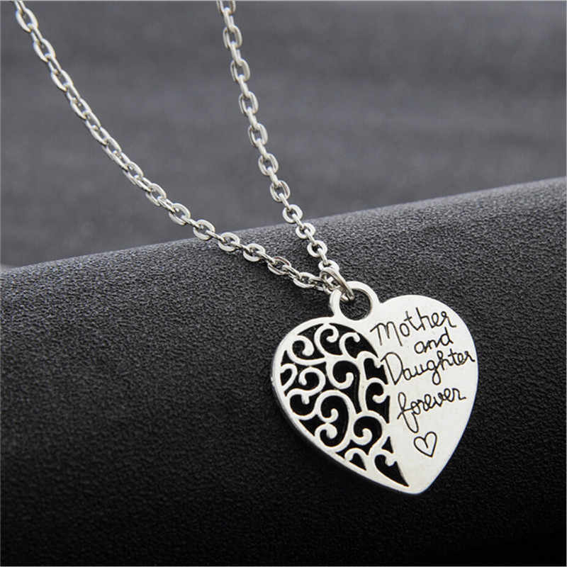 KLEEDER Silver Color Heart Pendant Necklace for Women Fashion Jewelry Gift for Mother's Day Mom & Daughter Necklace Choker Chain
