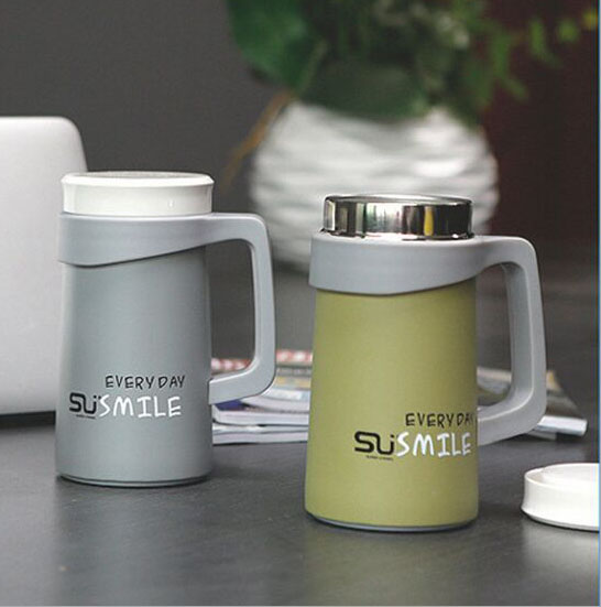office cups. 500ml Thermos Water Bottle Coffee Cups Office Mugs Stainless Tea Cup With Handle Vacuum Flasks W