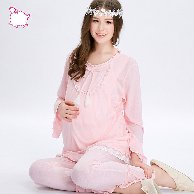 Sleepwear Set Women Cotton Pajamas Long Sleeves Pyjama Allaitement Nursing Clothes Maternity Nightwear Breasfeeding 2016 70M049