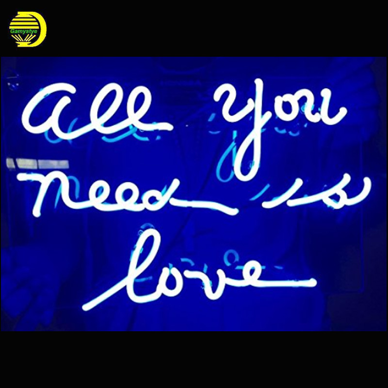 Neon Sign Light Beer Bar Girls Wall Window Lights Bedroom Home Signs ALL YOU NEED IS LOVE Art Lamps Real Glass tubes With Board
