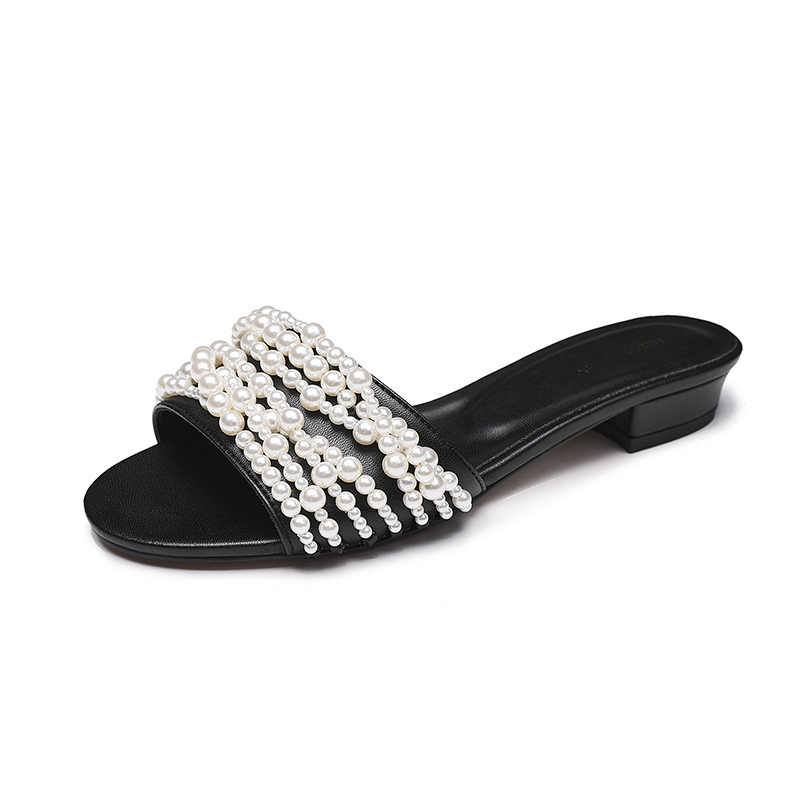Fashion Flats Peep Toe Women Shoes Pearls Flat Slippers Outdoor Mules Flip Flop Beads Slides Summer Beach Shoes Woman SandalsFashion Flats Peep Toe Women Shoes Pearls Flat Slippers Outdoor Mules Flip Flop Beads Slides Summer Beach Shoes Woman Sandals