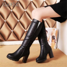 ELGEER Ms. high boots autumn and winter new thick with high tube casual fashion Women's boots Plus velvet warm women's shoes