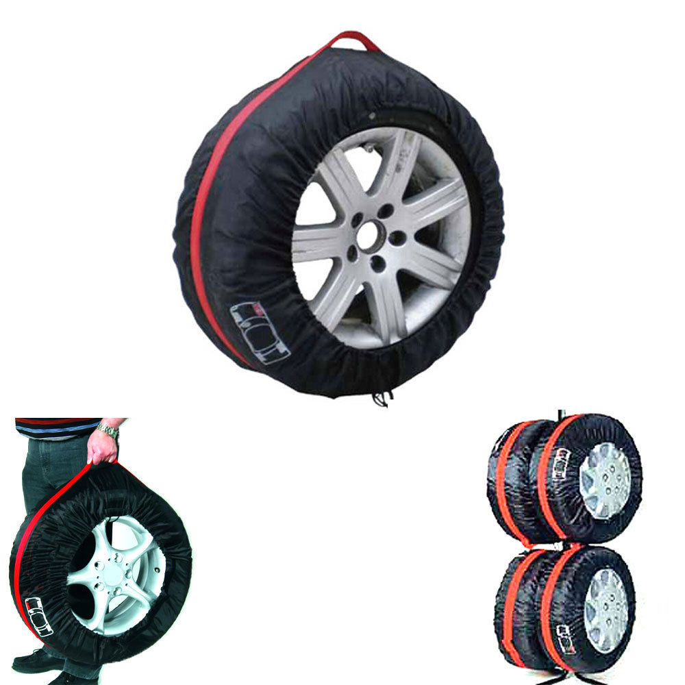 """BBQ@FUKA 4 Pcs Car 13""""-19"""" Wheel Tire Protection Cover Portable Nylon Carry Storage Bags Fit for VW KIA Ford BMW Car accessories"""