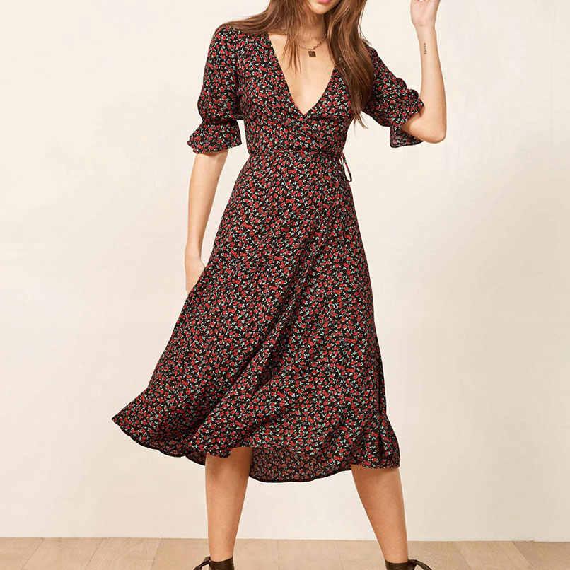 4632312c3bda0 2019 Summer Women V-Neck Floral One Piece Wrap Dress Ladies Little Rose  Print Chiffon Midi Dress Robe Femme