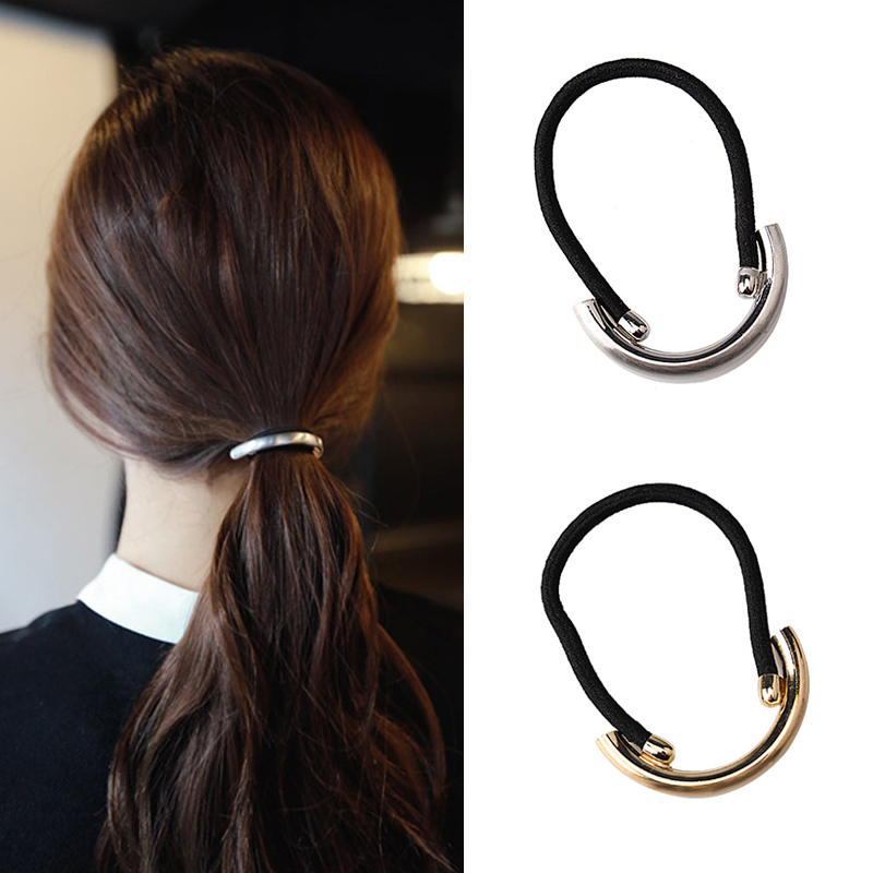 M MISM Steel Ring Elastic Rubber Gum Hair Band Ponytail Fashion Scrunchy Women Girl High Quality Solid Hair Tie Rope Accessories