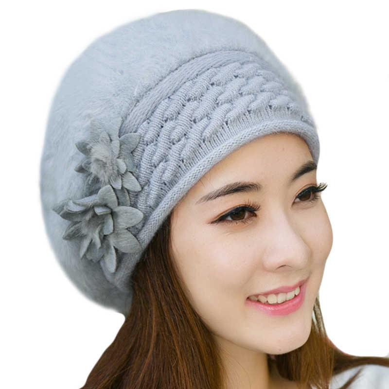 989d8c7c5f7ad ... Women Beret beanie caps Knitted Hat Ladies winter hats for women Faux Rabbit  Fur bonnet femme ...