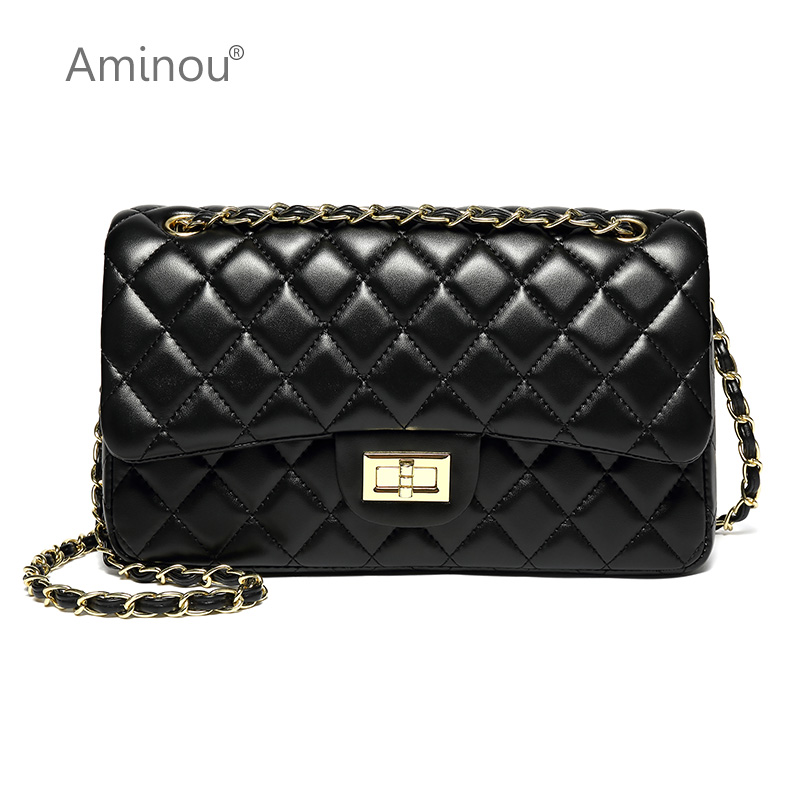 Aminou Luxury Classical Black Chains Women Bag Brand Fashion Pu Leather Handbag Diamond Lattice Lady Shoulder Crossbody Bag цена