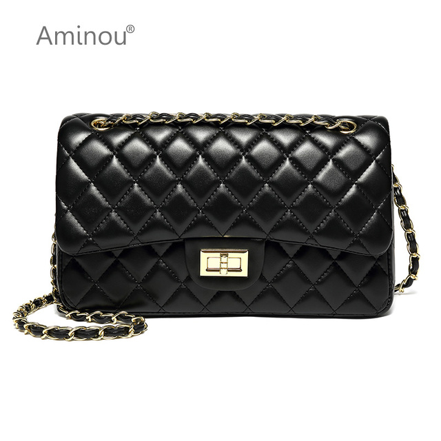 Aminou Luxury Classical Black Chains Women Bag Brand Fashion Pu Leather  Handbag Diamond Lattice Lady Shoulder Crossbody Bag 24f0247712e4