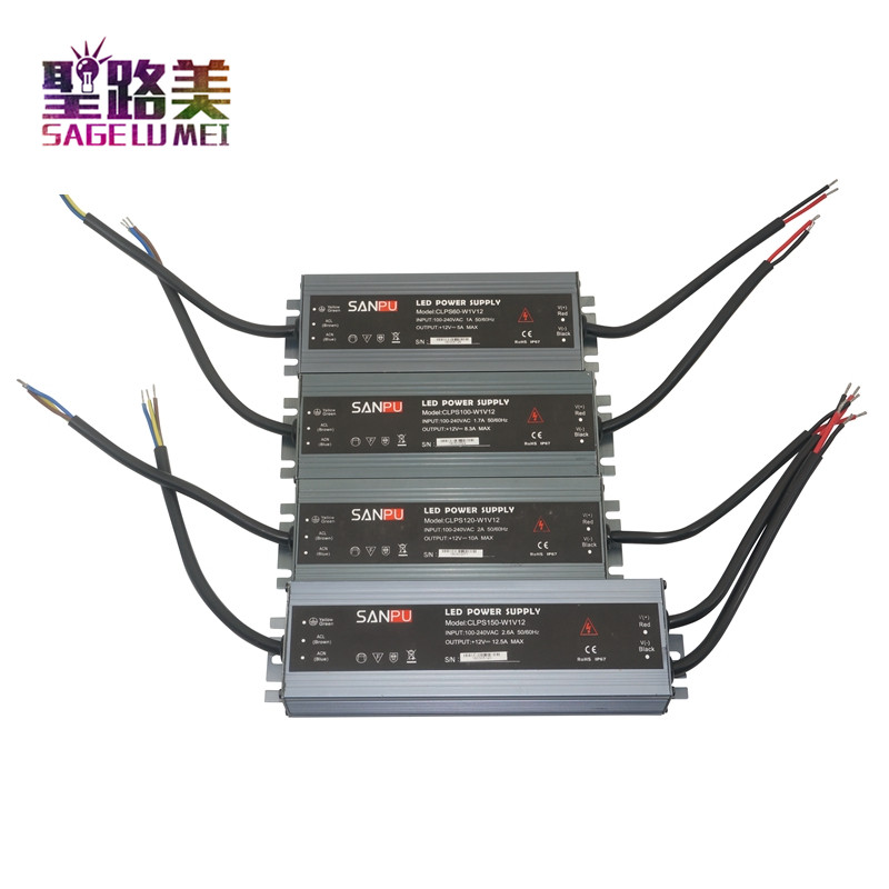 LED ultra thin waterproof power supply IP68 AC110V 220V to DC12V/ DC24V transformer 45W/60W/100W/120W/150W/200W/300W led Driver-in Lighting Transformers from Lights & Lighting