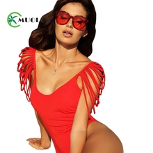 MUOLUX 2019 New Sexy Blue Tassel One piece Swimsuit Deep V Women Swimwear Plus size Female Bathing suit thong Cut out Bodysuit