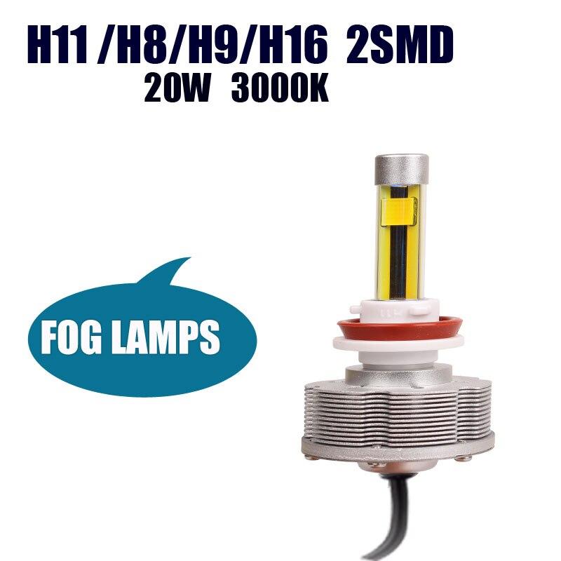 H9 Trucks LED Fog Lamps Source Lights Easy Install H9 H11 2SMD Factory Sale Brightest 3000K 2400LM Golden Lights Car Bulbs