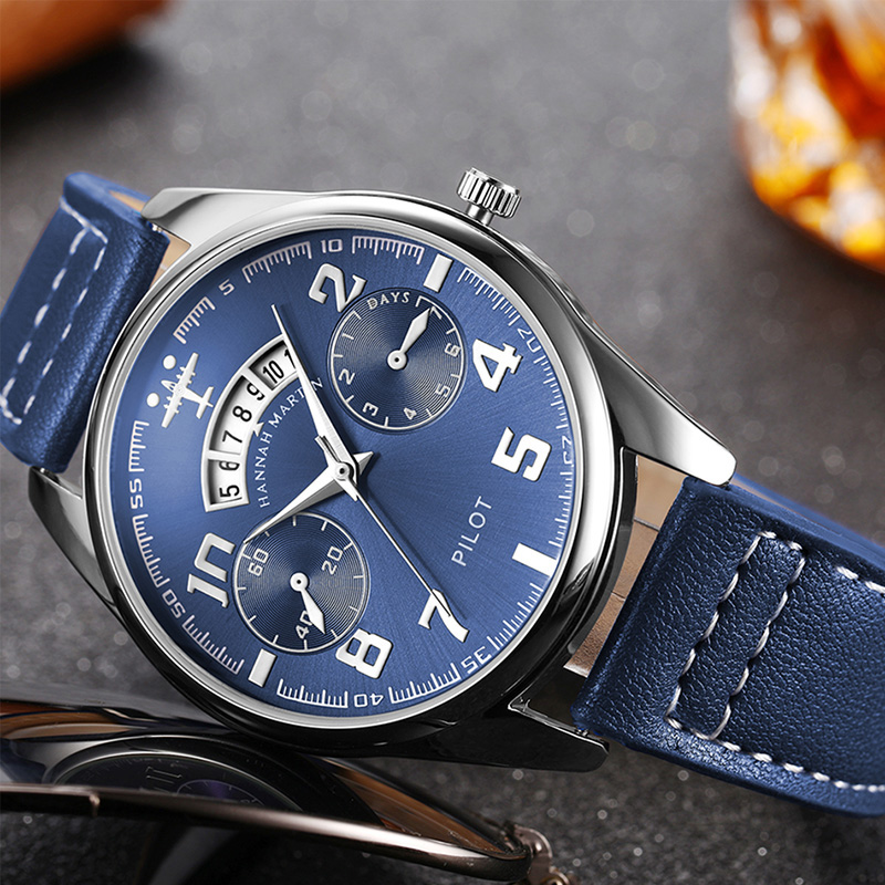 New Pilot Watch Military Sports Men Watch Luxury Japan Quartz Men Wristwatches Leather Creative Watch for Male relogio masculino цена и фото