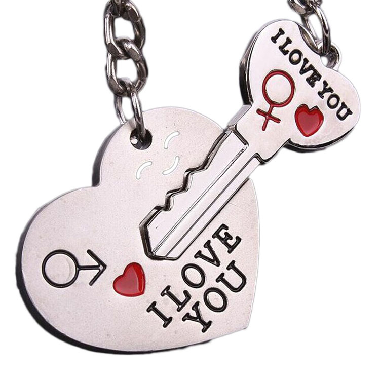 1 Pair Couple I LOVE YOU Letter Keychain Heart Key Ring Silver Color Lovers Love Key Chain Valentine's Day gift Dropship