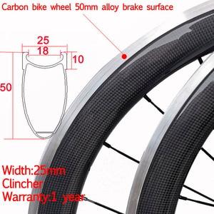 Дешевая ширина 25 мм китайский карбоновый клинчер для велосипеда колеса 38 мм 50 мм с Алюминиевая Рабочая поверхность тормоза керамическая вт...