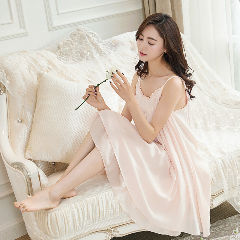 2017 New Sexy Female Korean Lace Nightdress Summer Sweet Loose Size Sexy Lady Nightgown Sleepwear Women Nightwear Sleep Dress
