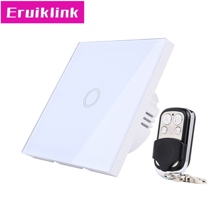 EU/UK Standard Wall Light Switch,1/2/3 Gang 1 Way White Glass Panel 220V RF433 Smart Home Remote Control Touch SwitchEU/UK Standard Wall Light Switch,1/2/3 Gang 1 Way White Glass Panel 220V RF433 Smart Home Remote Control Touch Switch