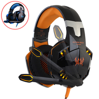 KOTION EACH Stereo Gamer Gaming Headset For Pc Headphone For Computer With Microphone LED Light Deep
