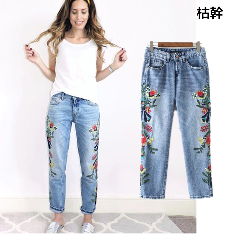 Jenny&Dave 2018 Bts   jeans   woman high street slim waist side embroidery of floral womens colored mom   jeans   plus size women   jeans