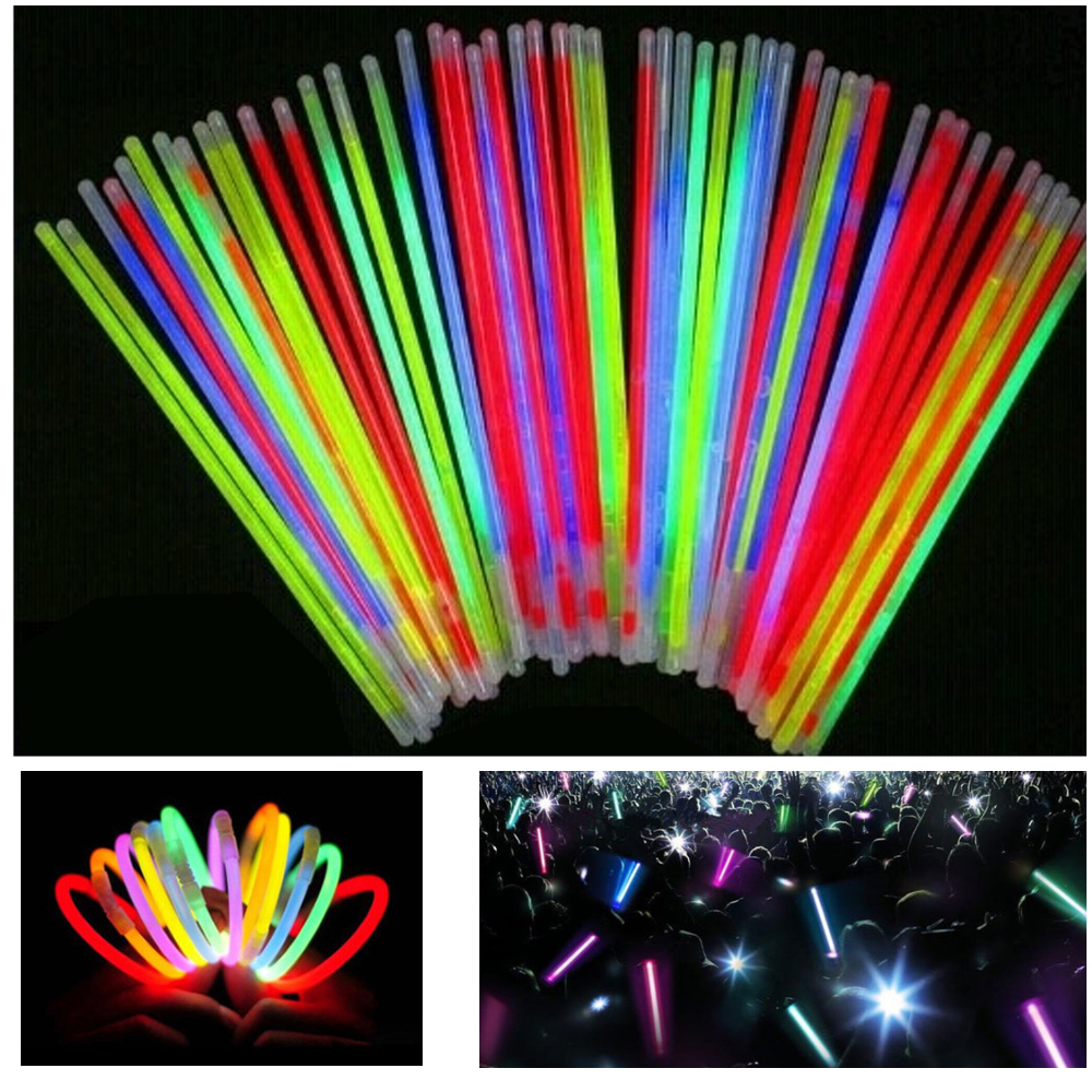 50pcs/lot Christmas Party Concert Supplies Fluorescent Bracelets Glow Sticks Wedding Party Decoration Night Light Sticks