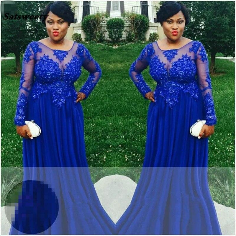 Bleu Royal grande taille robes De bal 2019 généreux à manches longues pure formelle femmes robes De demoiselle d'honneur Empire robes De Formatura