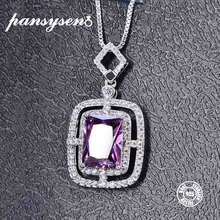 PANSYSEN 8x10MM Purple Amethyst 925 Sterling Silver Necklace for Women 6 Colors Top Quality Fine Jewelry Chain Pendant Necklaces