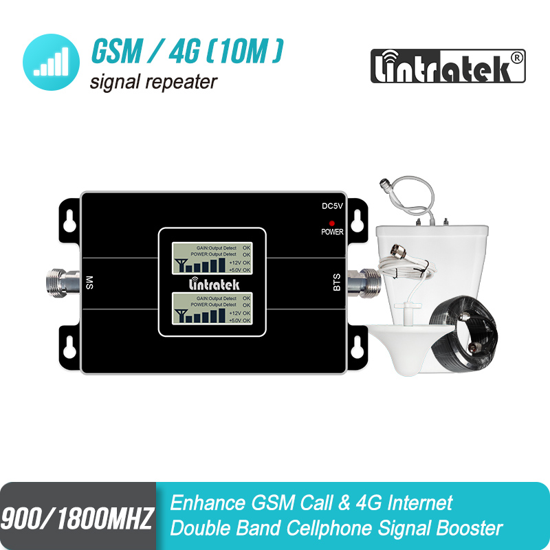 Lintratek LCD Affichage GSM Amplificateur 900 4G 1800 65dB Gain cellulaire Répéteur de Signal 900 1800 Double Bande Booster Amplificateur 4G S8