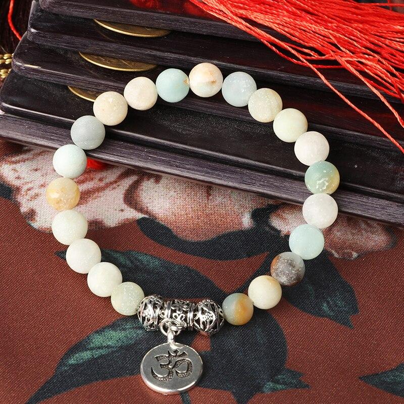 boho couple amazonite chakra bracelet charm Bracelet Stone punk mala beads Strand Bracelets 2019 For Women Men Beaded jewellery