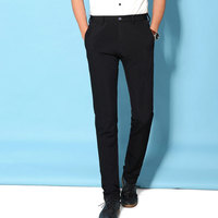 Fashion Brand Solid Black Casual Pants Men Plus Size 28 36 Skinny Full Length Stretching Male