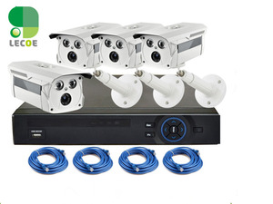 Full 720p 4 Channel PoE(Power Over Ethernet) Security Surveillance Camera System with 4CH NVR (4) Weatherproof 1MP IP Camera