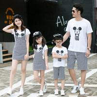 2016 Fashion Family Matching White Clothes Set Summer Cartoon Mickey Shirt Striped Pants Dress Family Look